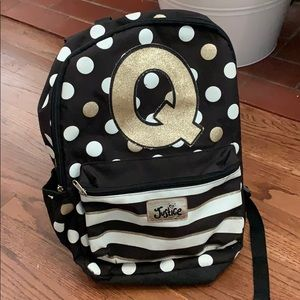 Q Justice Backpack (black, white and gold!)